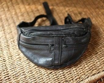vintage tourist black leather fanny pack