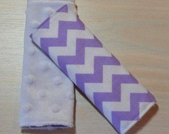 Car Seat Strap Covers - Chevron - Lavender