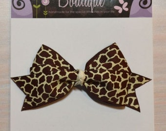 Boutique Style Hair Bow - Animal Print, Leopard Print, Brown