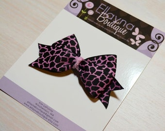 Boutique Style Hair Bow - Cheetah Print, Leopard Print, Pink and Black