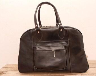 Black Leather Duffel Bag for Men/ Groomsmen Usher gift Bag / Weekender Overnight Travel Luggage Leather Handbag, Groomsmen gift