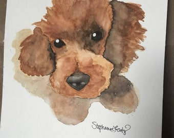 9 x 12 Animal or Pet Custom Watercolor Portrait