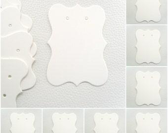25 x White Plain Earring Display Cards (7cm x 5cm)