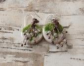 Ceramic leaf citrine earring Mia's only Beads- WinterBird Studio