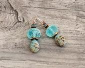 Aqua lampwork rustic artisan beachy  earrings art bead jewelry- WinterBirdStudio