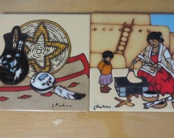 Vintage Leone Kuhne earthtones Southwestern south western Native American pottery tile trivets
