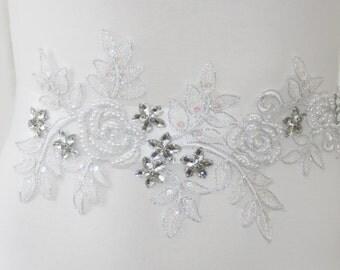 White satin of lace bridal belt with Rhinestones