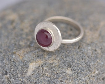 Garnet Ring, Sterling Silver Ring with Garnet, Red Ring, January Birthstone Ring, Ring Size N