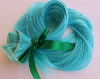 Blue hair extension etsy ready to ship 24 blue hair extensions clip in extensions unicorn cosplay pmusecretfo Choice Image
