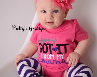 Got it from my mama--Girls bodysuit/shirt, bow, and legwarmers -- Girls outfit -- Funny girls outfit -- Born to pose outfit