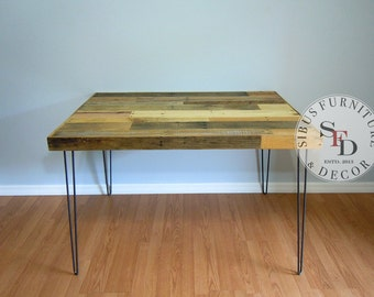 Dining Table - FREE SHIPPING - Reclaimed Pallet Dining Table - Hairpin Legs