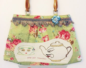SALE!!!  Handmade bag with wood effect top handle and vintage embroidery