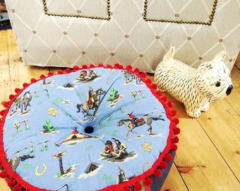 Handmade Floor cushion with cowboy and indian fabric
