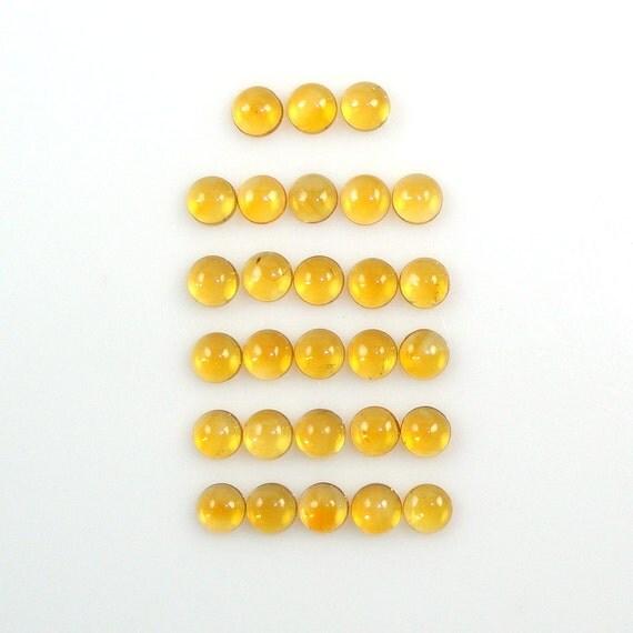 4mm Citrine Cabs Round Great Brilliance Excellent Golden