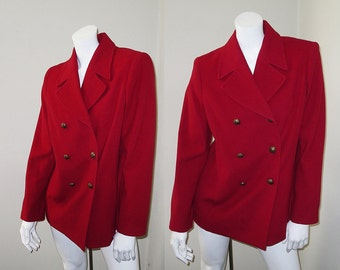 SALE Vintage Louben Red Double Breasted Wool & Cashmere Jacket Pea Coat Size 8