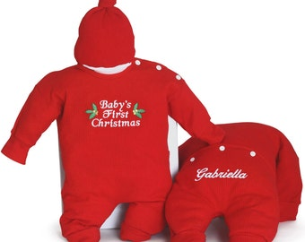 Personalized Baby's First Christmas Outfit & Santa's Cap