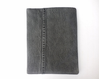 Black Denim Journal Cover on Composition Book, features inseam, journaling, poetry, class notes, logging thoughts, protection and  easy ID