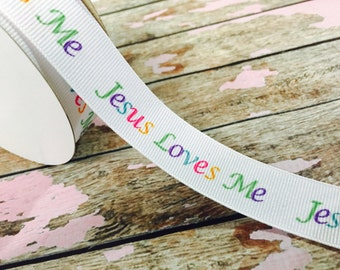 7/8 Grosgrain Jesus Loves Me Ribbon
