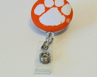Orange and White Tiger Paw Fabric Button Retractable Badge Reel Clip