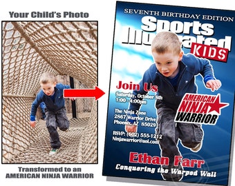 American Ninja Warrior Invite American Ninja Warrior Invitation Sports Illustrated invite Sports Illustrated Invitation Ninja Warrior Party