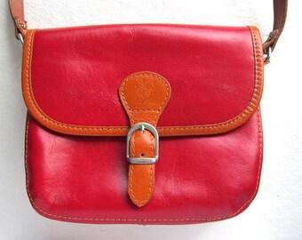 Red satchel leather bag-vintage red bag-red leather bag-vintage leather handbag