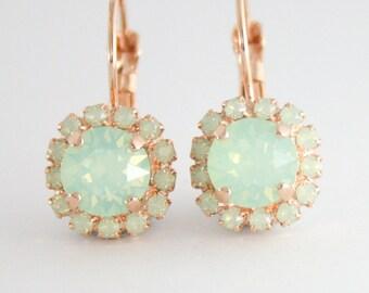 Swarovski mint earrings,mint bridesmaid earrings,mint bridal earrings,opal earrings,mint earrings,mint wedding,rose gold earrings,mint gold