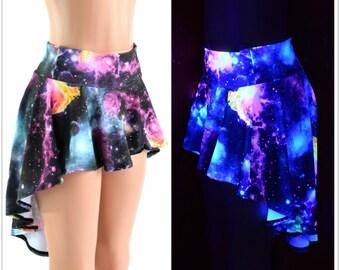 UV Glow Galaxy Hi-Lo Mini Skirt Rave Festival Skirt 152406