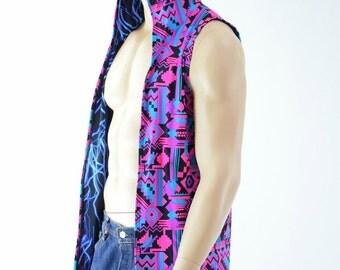 Mens Open Front Reversible Hooded Vest in Neon Blue Lightning & Pink/Black Aztec Print Rave Festival Apparel 152441