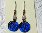 Cobalt blue lampwork bead earrings with white stone and copper