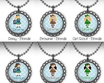 SALE! Personalized Scout, Brownie, Daisy Bottle Cap Necklaces - Set of 6 - Party Favors