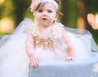 NEW Princess Collection - The Maria Dress - Blush Flower Girl Dress-Champagne Flower Girl Dress-Girls Couture Dress-Girls First Birthday