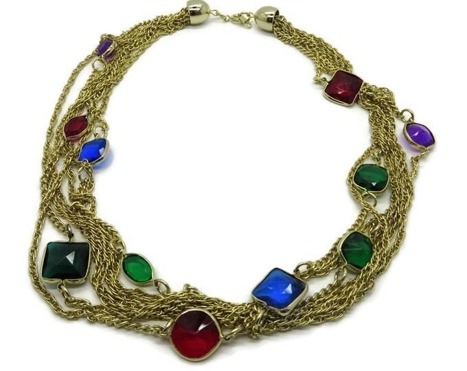 Korea Goldtone Multistrand Necklace Vintage Crystal Necklace Costume Jewelry Gift Idea