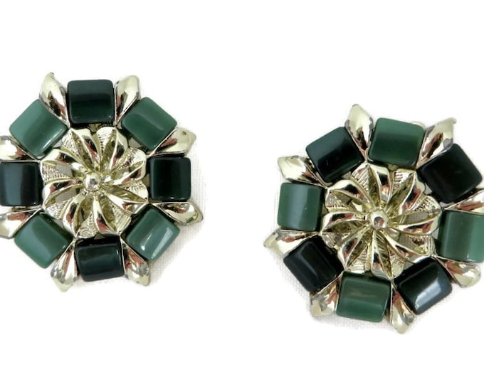 Green Thermoset Earrings - Vintage Goldtone Flower Clip-on Earrings, Gift idea, Gift Boxed