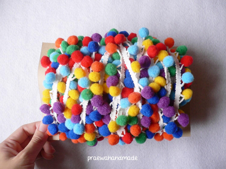 1-5 or 20 yards rainbow pom pom trim ribbon.