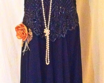 Navy blue color beaded the great gatsby dress, 1920s flapper dress 20s flapper dress for ladies, size 1X beaded Vintage dress,Gatsby costume