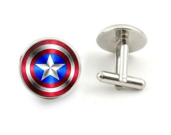 captain america shield cufflinks wedding groom cufflinks men gift - with free jewelry box