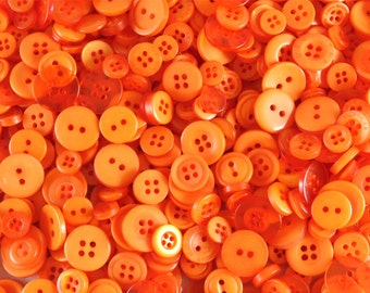 Orange Small Mixed Buttons - Bulk/Job Lot/Scrapbooking/Card Making/Crafting