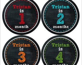 Personalized Baby Month Stickers Monthly Bodysuit Stickers Monthly Baby Stickers Baby Shower Gift Photo Prop Baby Milestone Sticker 484