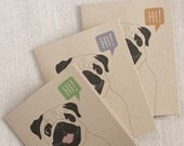 Pug Says Hi // Pug Cards // Note Card Set // Dog Lover Gift // Modern Stationery // Set of 3 Cards // Animal Card