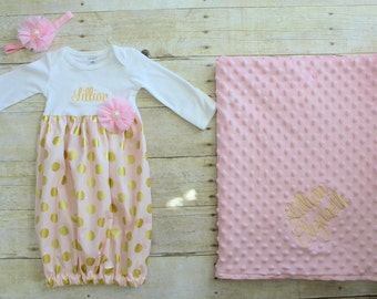 Baby Gift Set - Pink & Gold - Polka Dot - Going Home Outfit - Gown - Baby Layette - Keepsake - Blanket - Baby Shower