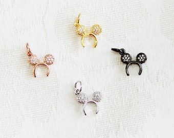 CZ Micro Pave 12mm Micky  Charm with Jump Ring