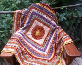 Warm Shades of Autumn Crocheted Afghan