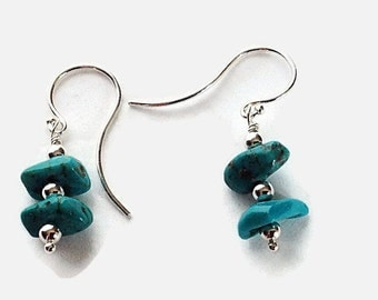 Genuine Turquoise Sterling Silver Earrings, Handcrafted Sterling Silver Jewelry, Gift for Her