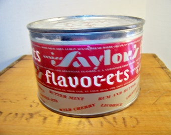 Vintage Miss Saylor's Flavor-ets Candy Tin 6 oz with lid 1960's