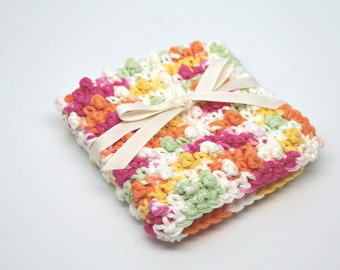 Crochet Washcloth- Cotton Washcloth- Makeup Washcloth- Exfoliating Washcloth- Face Scrubbie- multi colored