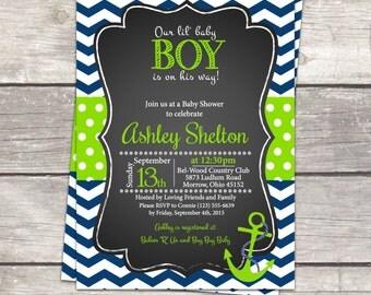 Nautical Baby boy Shower invitation Anchor chalkboard navy chevron, lime green polka dot, digital invitation files