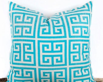 SALE ENDS SOON Designer Turquoise Pillow Cover, Geometric Pillow Case, Home Design Ideas, 18 x 18