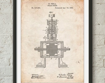 Tesla Steam Engine Patent Poster, Tesla Art, Nikola Tesla, Technology Art, Mechanic, PP1096