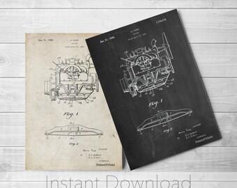 Truck Engine Printables, Ford Engine Patent, Henry Ford, Pickup Truck, Garage Art, PP0220