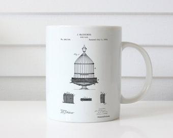 Vintage Birdcage Patent Mug, Bird Cage Mug, Hipster Mug, Antique Bird Cage, PP0683